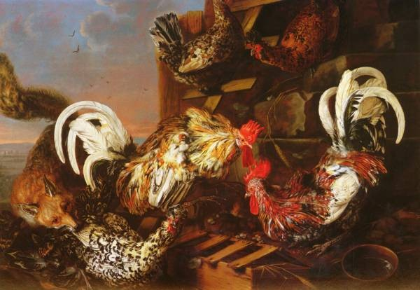 1623 to 1657 A Farmyard Scene With A Fox Attacking Bantams O C 1003 by 1405cm